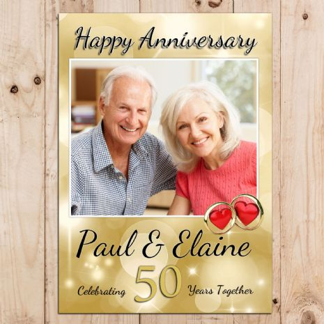 Personalised Golden 50th Wedding Anniversary Party PHOTO Banner Poster N70